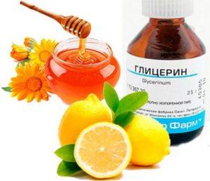 лимоны, мед с глицерином